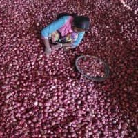 Lasalgaon farmers protest against falling prices of onions